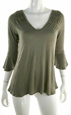 American Rag CIE Womens 16806 Juniors Olive Blouse Flare Sleeves Sz XS Casual
