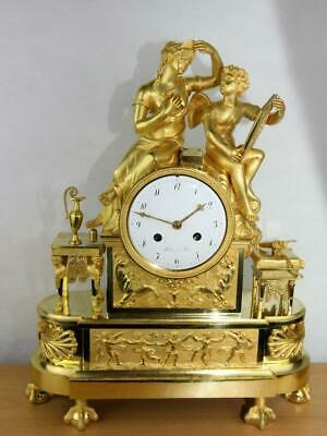 Large french antique ormolu empire mantel clock pendule gilt bronze decor art