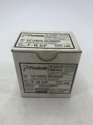 "Paslode 16 Gauge Straight Finish Nails F-16  3/4"" Galvanized 5,000 Count NOS"