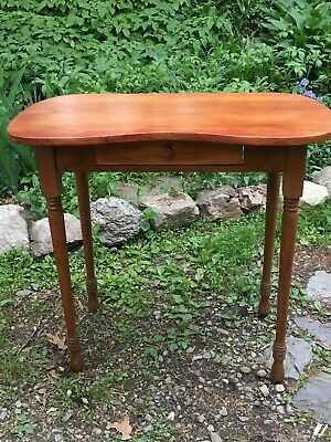 "Rare Antique Kidney Shaped Vanity Table. Oak and Cherry . ""Chiaroscuro"" finish."