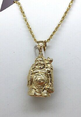 US SELLER REAL SOLID 10K Two Tone YELLOW WHITE Gold Buddha Charm Pendant