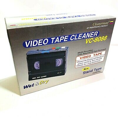 Cleanermate VC-8088 VHS VCR Video Tape AV Cleaner 2-Sided Cleaning Rewinder NEW