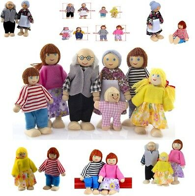 Wooden Furniture Dolls House Family Miniature 7 People Set Doll Toy