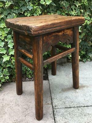 Antique Primitive Vernacular Stool Pitch Pine Wooden jointed Stool Circa 1800