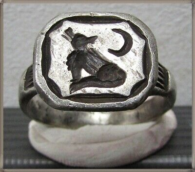 ** WRECKING WOLF **Ancient Silver Legionary Roman Ring **AMAZING **