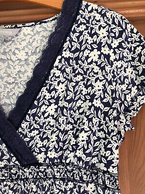 Red Herring Pretty Navy & White Flower Pattern Top Tunic Size 10
