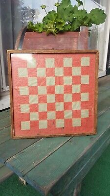 Antique or vintage Wood checker board game board glass covered nice patina AAFA