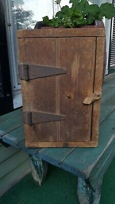 Antique early primitive vintage small pine wood 1 dr cupboard nice patina  AAFA