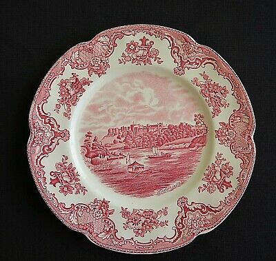"Vintage Old Britain Castles 8 1/2"" Lunch Plate Red Transferware Johnson Bros"