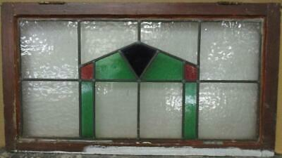 "OLD ENGLISH LEADED STAINED GLASS WINDOW TRANSOM Pretty Geometric 29"" x 16"""