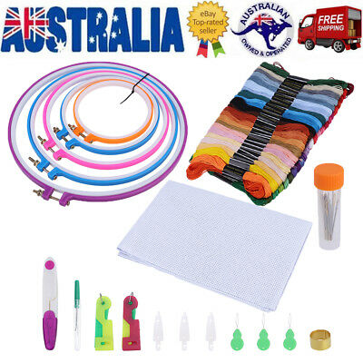 Embroidery Sewing Kit Tools Cross Stitch kit Threads Embroidery Hoop Ring Set AU