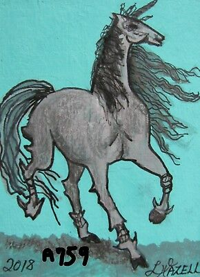 "A759     Original Acrylic Aceo Painting By Ljh     ""Unicorn Iron-Horse"""