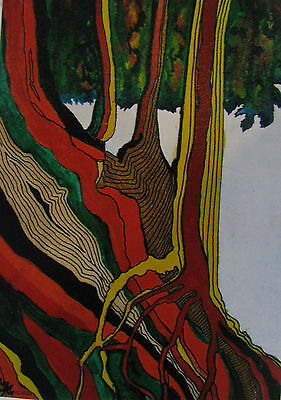 "C253  Original Acrylic Painting By Ljh  ""Twisted Roots"""