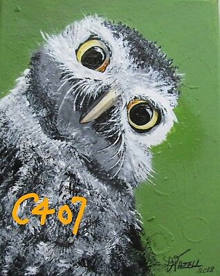 "C407          Original Acrylic Painting By Ljh       ""Curious Owl"""