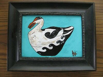 "C369   Original Acrylic Painting By Ljh   ""Eider Decoy"""