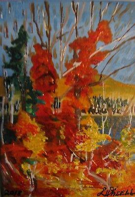 "A650       Original Acrylic Aceo Painting By Ljh  ""Autumn Foilage"""