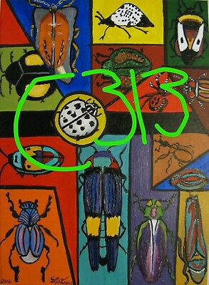 "C313    Original Acrylic  Painting By Ljh  ""Bug Mosaic"""