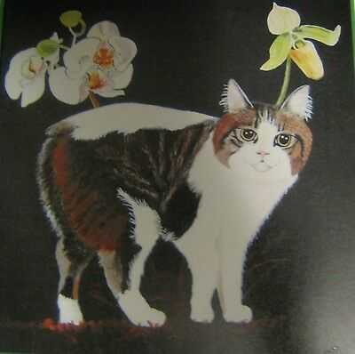 """C186       Original Acrylic Painting By Ljh     """"Cymric With Orchids""""      Cat"""