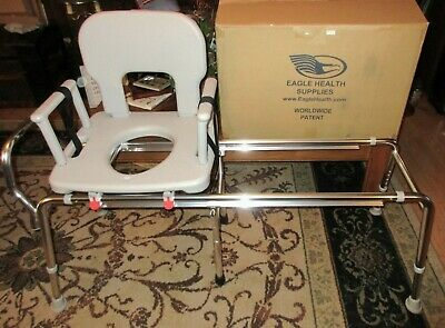 Eagle Health Toilet to Tub Sliding Transfer Bench Long 77963 w Arms Hardly Used