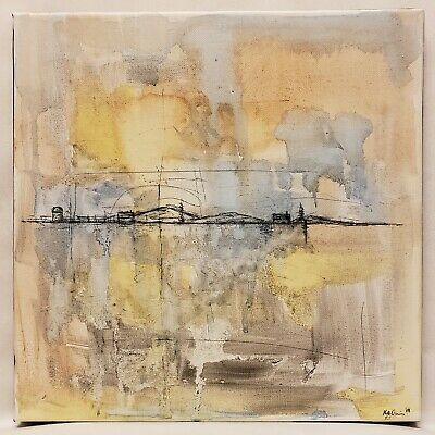 Original Abstract Minimal Landscape Painting On Canvas By K.A.Davis