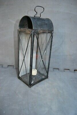 Antique Victorian era tin & glass hand held candle lamp