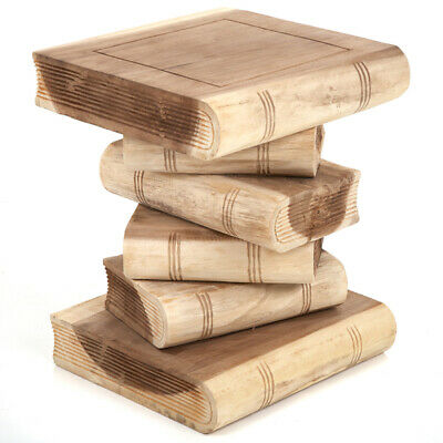 """Stacked Book Table 16""""/Lamp Table/Plant Stand/Hand Carved/Solid Wood/Natural"""