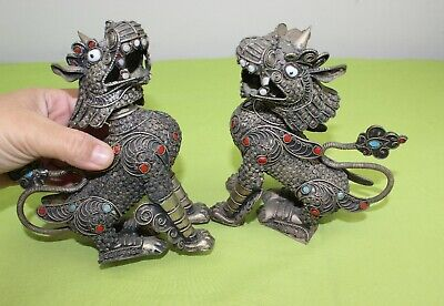 Rare Vintage Antique Pair Metal Lion statue light weight handcrafted in Nepal