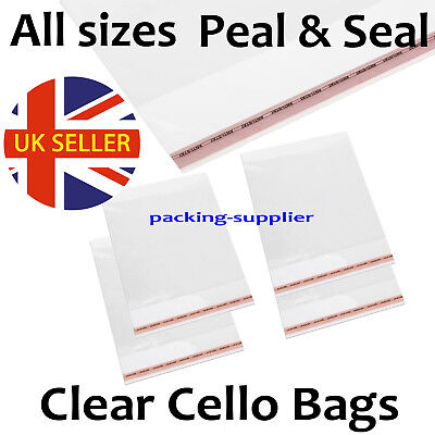 Clear Cello Bags Small Large Self Seal Cellophane Card Photo Party Sweet Craft