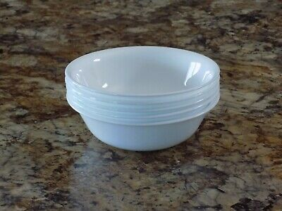 "Set of 5 Corelle Winter Frost White Cereal Soup Salad Bowls 6 1/4"" Diameter"