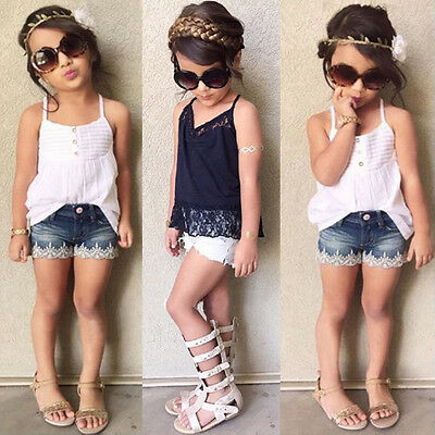 2PCS Infant Toddler Baby Kid Girl Outfits Lace Shirt Tops+Demin Shorts Pant Suit