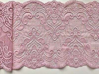 "Dusky Pink Soft Stretch Lace Wide 6.75""/17 cm Lingerie Craft Sew Table Runner"