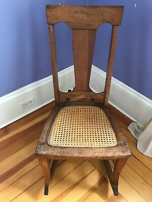 Antique Sewing/Nursing Rocker Circa 1920 With Intact Woven Seat Walnut
