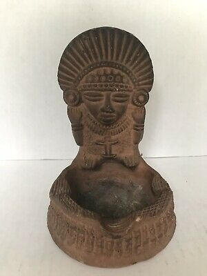 "Pre Columbian clay Pottery Figure Native Rustic Mayan Ashtray vintage 6"" long"