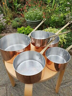 Vintage French Copper Pans, set of 5 with brass handles