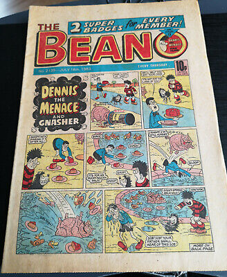BEANO Comic #2139 16/7/83 Childrens Kids Dennis the Meanace Fun LOL Retro old UK