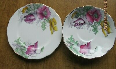 Lovely Vintage Royal Albert Flower of The Month Saucer And t/plate No8 Poppy vgc