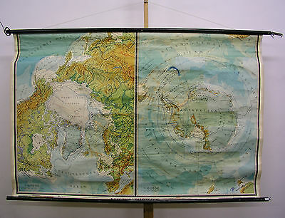 Schulwandkarte Wall Map School Map North Südpol Arctic Antarctic 172x113 ~ 1958