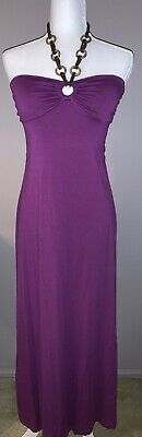 L8ter Women's Halter Beaded Padded Maxi Dress  - Size M - Color Purple