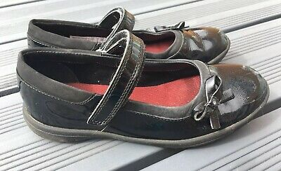 Girls Clarks Black Leather Patent School Shoes Size Uk 13 1/2 F