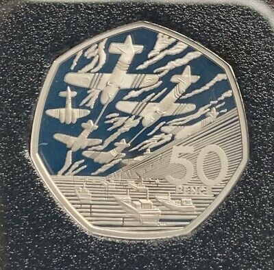2019 D-Day Landings BASE PROOF 50p from 50 Years Of The 50p British Military Set