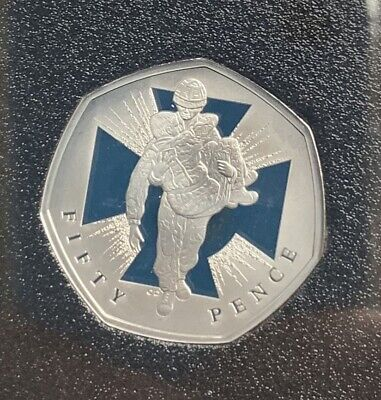 2019 BASE PROOF 50p VC Soldier Carrying Wounded Man From British Military Set