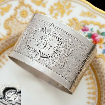 Antique Belle Epoque French Sterling Silver Napkin Ring, Ornate Floral Guilloche