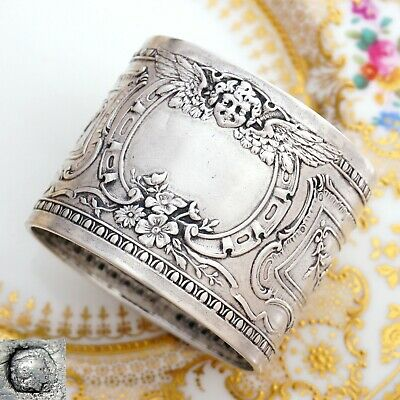 Antique French .800 Silver Repousse Napkin Ring, Charming Cherub Motif
