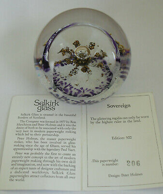 """Limited Edition Selkirk Glass """"Sovereign""""(206/500) Paperweight - 3 1/8"""""""