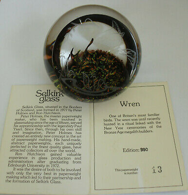 """Limited Edition Selkirk Glass """"Wren""""(13/350) Etched Paperweight - >2 3/4"""""""