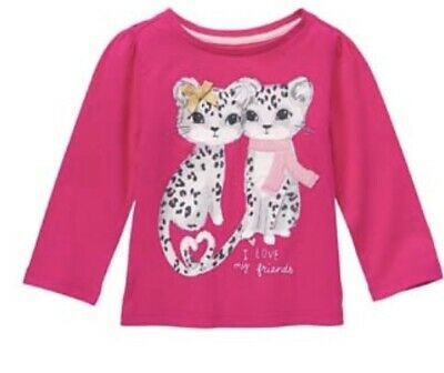 Nwt Gymorbee Girls Size 4T Snowflake Fun Pink Snow Leopard Cub Kitten Top New
