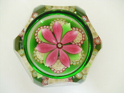 """Boxed Perthshire Millefiori Rosettes & Lampworked Flower Paperweight """"P"""" Cane"""