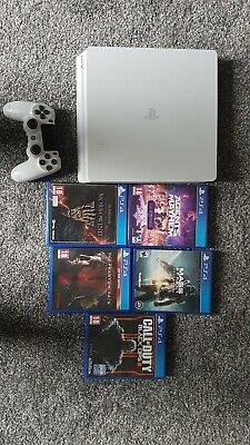 Sony PlayStation 4 Slim 1TB (upgraded) White Console PS4 plus 5 games