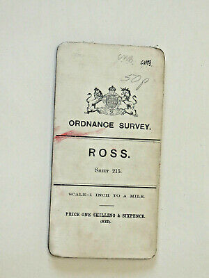 Ordnance Survey  One Inch small sheet 215 ROSS cloth 1902