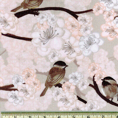 Wild Wings Bird Cherry Pink Blossom Fabric Springs CP51392 Cotton By The Yard